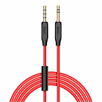 Кабель hoco UPA12 AUX audio cable(with mic) red
